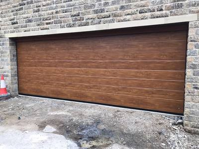 Made to measure garage Doors in traditional Golden Oak colour choice